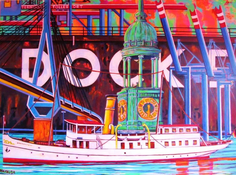 "Max Kuba: ""Hamburg-Collage mit 'Scharhörn'"", 2020, Acryl auf Mdf, 140 x 103  cm"